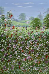 Floral Fields by Mary Shaw - Original Painting on Board sized 24x36 inches. Available from Whitewall Galleries
